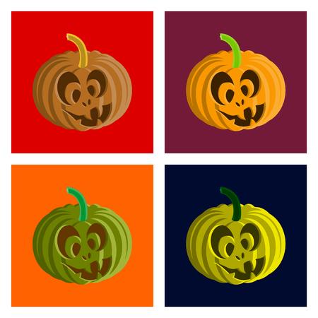 assembly of flat illustration Halloween pumpkin emotions