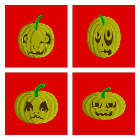 assembly of flat illustration Halloween pumpkin emotions Banco de Imagens - 124994119