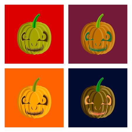 assembly of flat illustration Halloween pumpkin emotions Banco de Imagens - 124994120