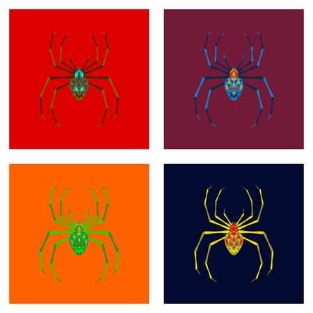 assembly of flat illustration halloween danger spider