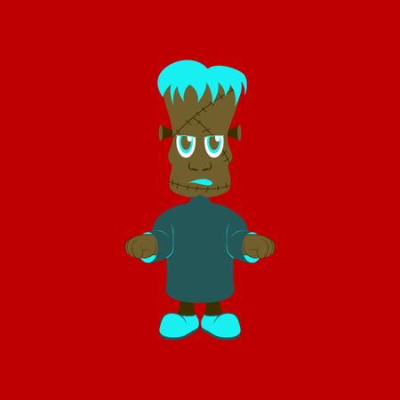 flat illustration on stylish background of zombie men Illustration