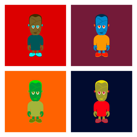assembly of flat illustration halloween zombie men