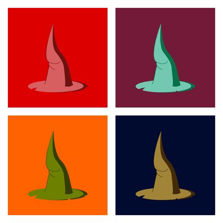 assembly of flat illustration halloween witch hat Ilustração