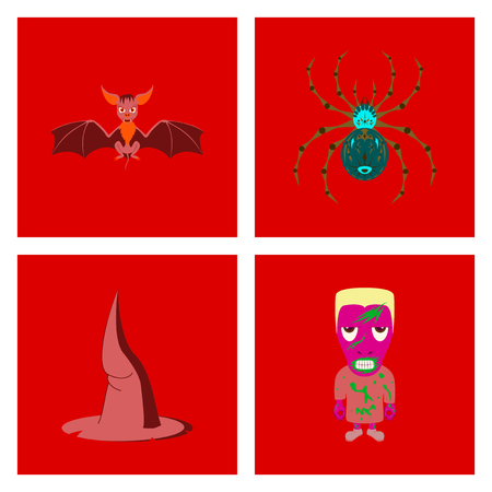 assembly of flat illustration spider witch hat monster bat