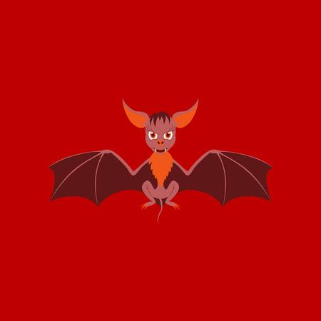 flat illustration on stylish background of cute bat