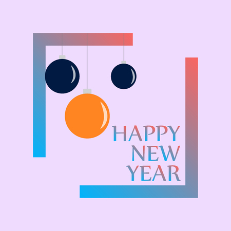 Happy New 2019 Year. Holiday Vector Illustration With Lettering Composition and Burst. Vintage Festive Label Ilustração