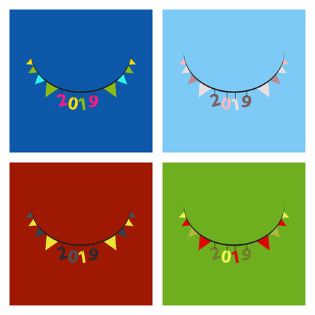 Christmas banner, Xmas sparkling lights garland with gifts and golden tinsel. Christmas posters, cards, headers website. Illustration