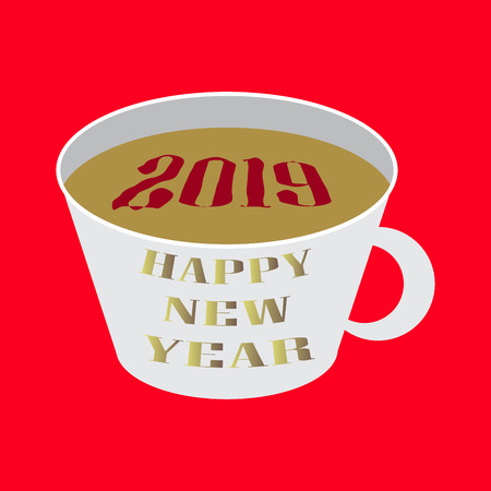 Happy New Year 2019 breakfast coffee . Greeting card 2019 cup of coffee . Coffee 2019 year view from banner. Celebrate breakfast brochure