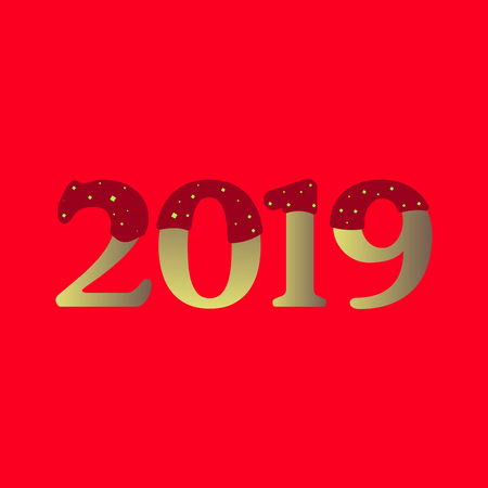 2019 Happy New Year Background for your Seasonal Flyers and Greetings Card or Christmas themed invitations Imagens - 124994169