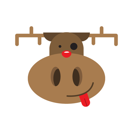 Deer vintage Christmas card vector animal illustration.