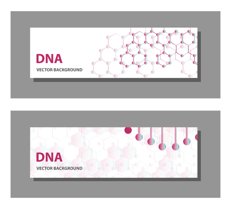 Set of 9 vector templates for presentation slides. Graphic design of molecule structure, blue scientific vector background.