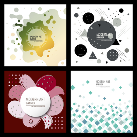 Collection of creative universal artistic cards. Hand Drawn textures. Trendy Graphic Design for banner, poster, card, cover, invitation, placard, brochure, flyer. Vector. Isolated.
