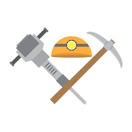 Helmet jackhammer pickaxe. The tools of a coal miner isolated on a white background. Cartoon vector close-up illustration.