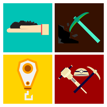 Set of vector construction and industrial icons. Mining and digging tools. helmet, paint, crane, wall, truck, jackhammer, and more. Editable Stroke Illustration