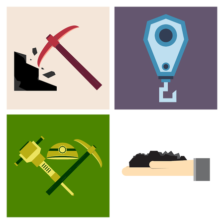 Set of vector construction and industrial icons. Mining and digging tools. helmet, paint, crane, wall, truck, jackhammer, and more. Editable Stroke Vettoriali
