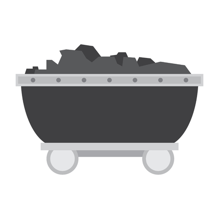 Trolley with ore on rails vector illustration Illustration