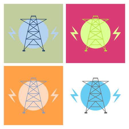 Vector high voltage pylon on white background in isometric perspective. Red and white 3d metal pole voltage, isolated background. Industrial illustration. Power line pylon with safety lock.