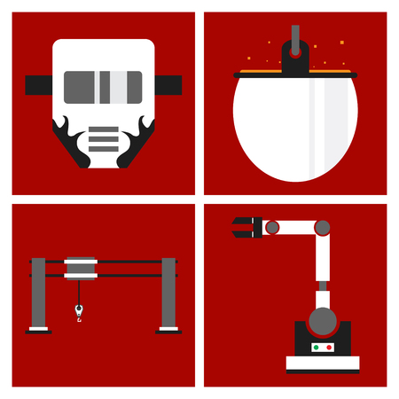 Set of production equipment in flat style for welding and electicity