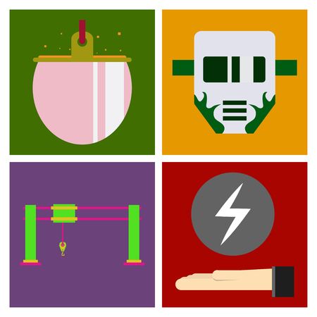 Set of production equipment in flat style for welding and electicity Ilustração Vetorial