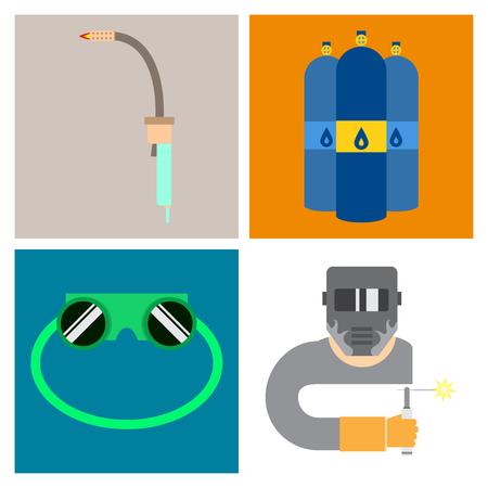Set of production equipment in flat style for welders Ilustração Vetorial