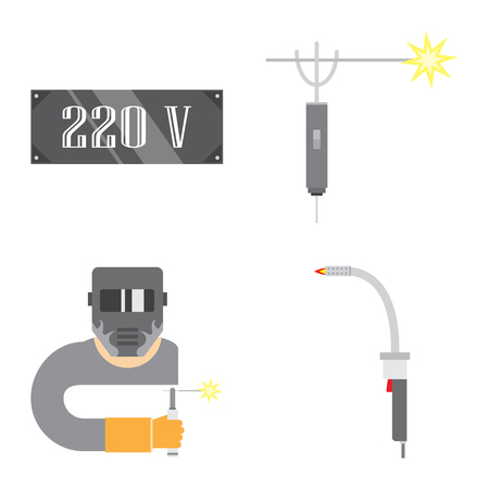 Set of production equipment in flat style for welders