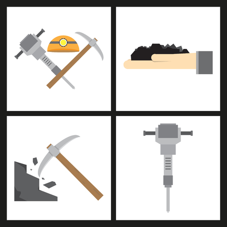 Set of vector construction and industrial icons. Mining and digging tools. helmet, paint, crane, wall, truck, jackhammer, and more. Editable Stroke