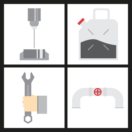 Set of production equipment in flat style for welders and turners