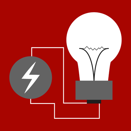 Wire plug and light bulb flat icon. Vector illustration. Plug, light bulb and cord in the form of heartbeat. Concept of Electricity and lighting. Иллюстрация