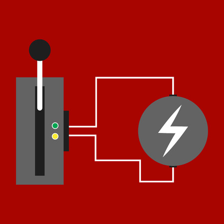 Realistic metall switch. Isolated red tumbler Illustration