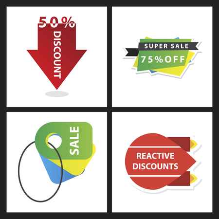 Set of sale banner template design discount icons