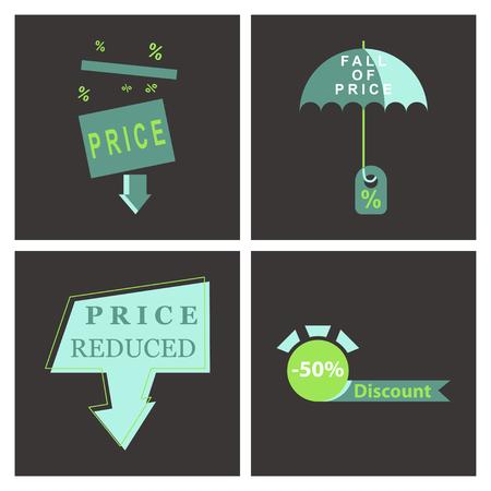 Set of big sale banner. Ribbon. Vector Illustration