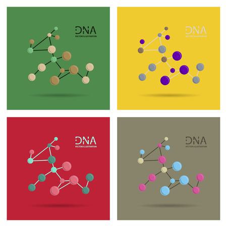 Molecules Concept of neurons and nervous system vector. Set of DNA structures.