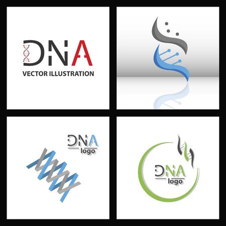 Set of DNA Helix Logo Template. Genetics Vector Design. Biological Illustration