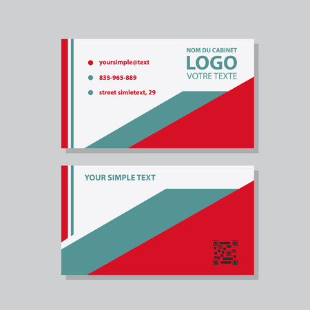 Creative and Clean Business Card Template. Flat Design Vector Illustration. Stationery Design Çizim