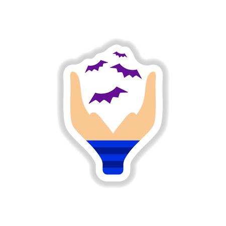paper sticker on stylish background of hand bat Illustration