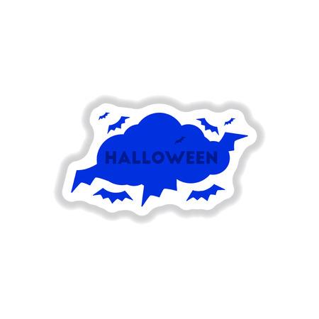 paper sticker on stylish background of cloud bats