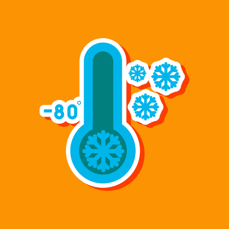 paper sticker on stylish background thermometer cold weather
