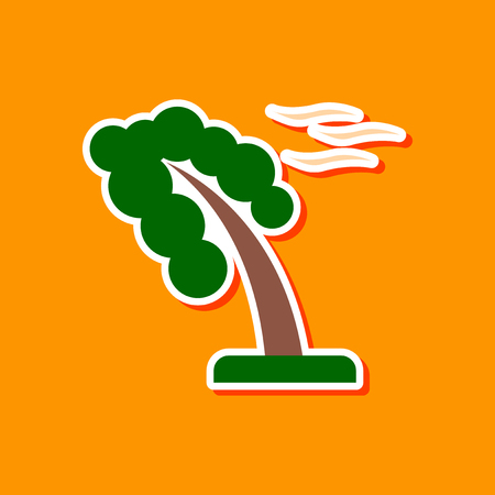 paper sticker on stylish background strong wind tree