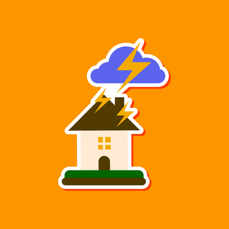 paper sticker on stylish background nature lightning house