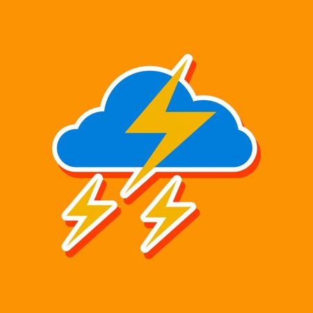 paper sticker on stylish background lightning cloud Standard-Bild - 124818377
