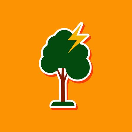 paper sticker on stylish background lightning tree