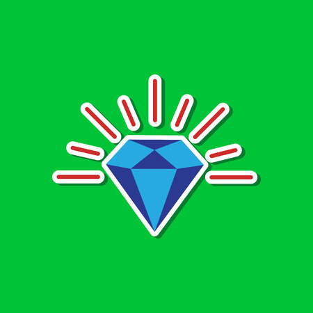 paper sticker on stylish background of diamond