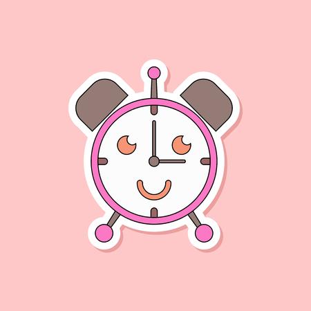 paper sticker on stylish background of Kids toy alarm clock Illustration