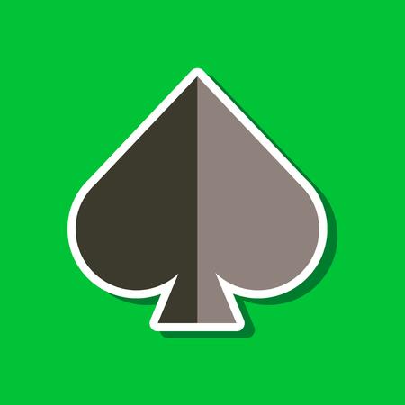 paper sticker on stylish background of poker game spades Ilustrace