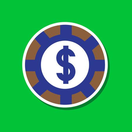 paper sticker on stylish background of poker chips