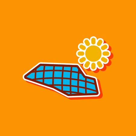 paper sticker on stylish background solar panels