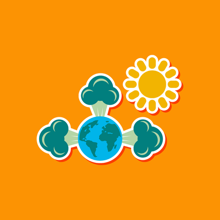 paper sticker on stylish background earth greenhouse effect