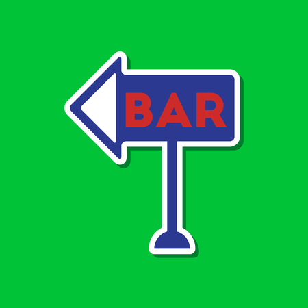 paper sticker on stylish background of bar sign Illustration