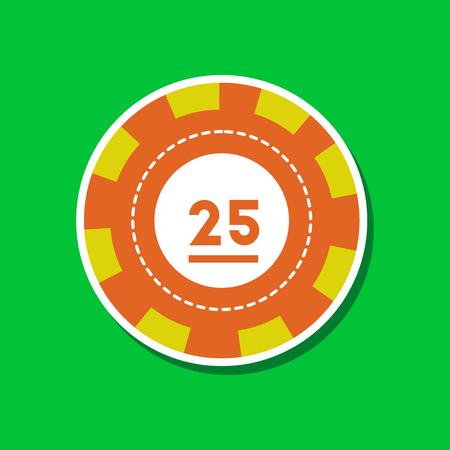 paper sticker on stylish background of single poker chips Illustration