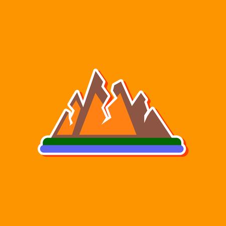 paper sticker on stylish background cracks mountains Stock Illustratie